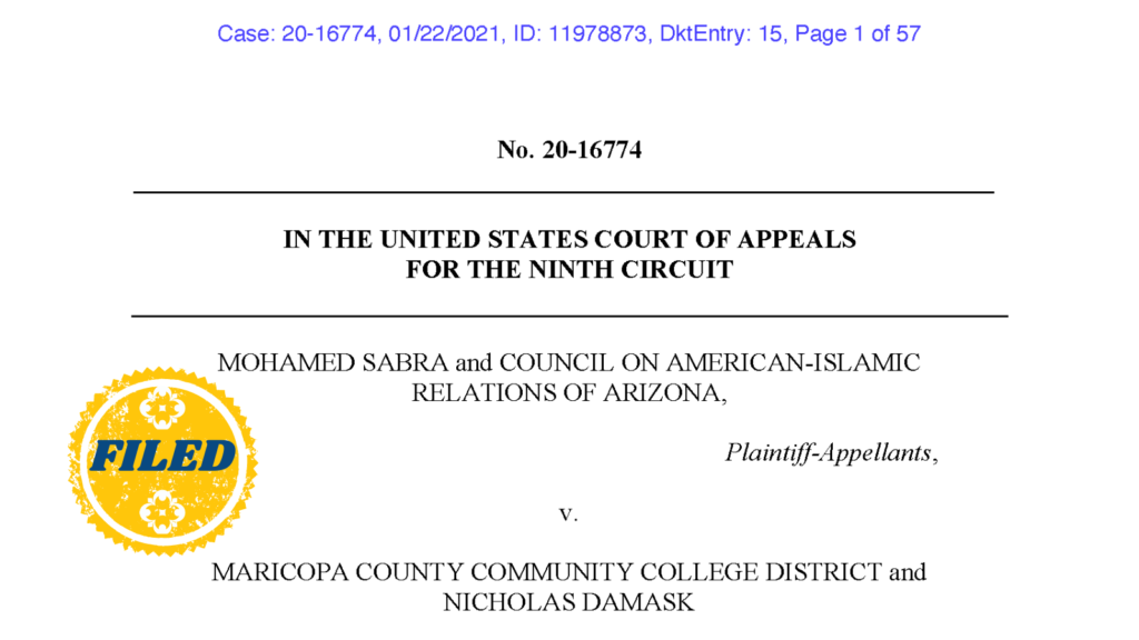 Sabra v. MCCCD – Opening Brief 9th Circuit Court of Appeals