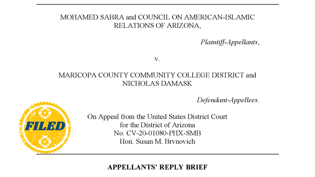 Sabra v. MCCCD – 9th Circuit Court of Appeals Reply Brief